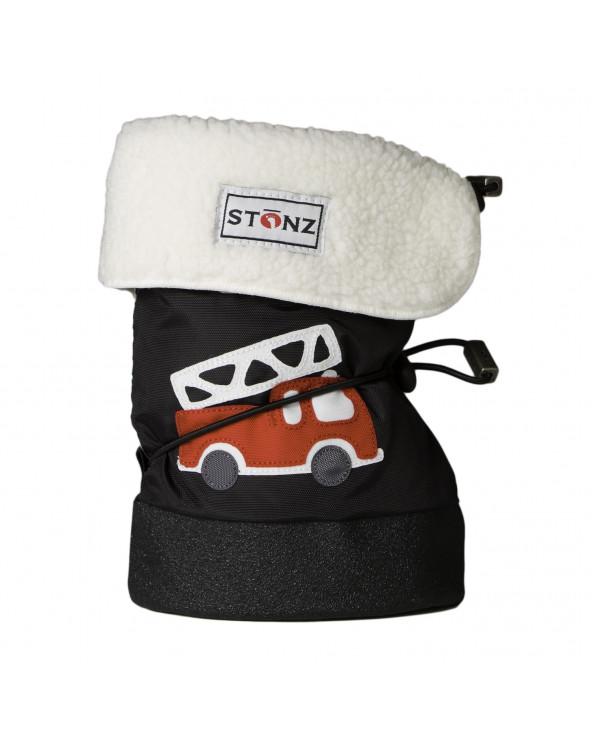 BUTY DLA NOWORODKÓW I NIEMOWLĄT BABY BOOTIES - Fire Truck Black Baby Booties Stonz®