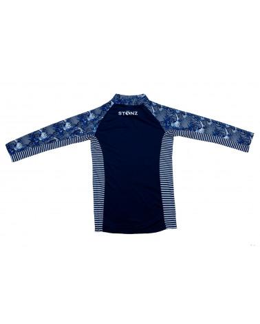 Koszulka plażowo-kąpielowa z filtrem UPF 50 - Navy Wave Top dziecięcy Stonz®