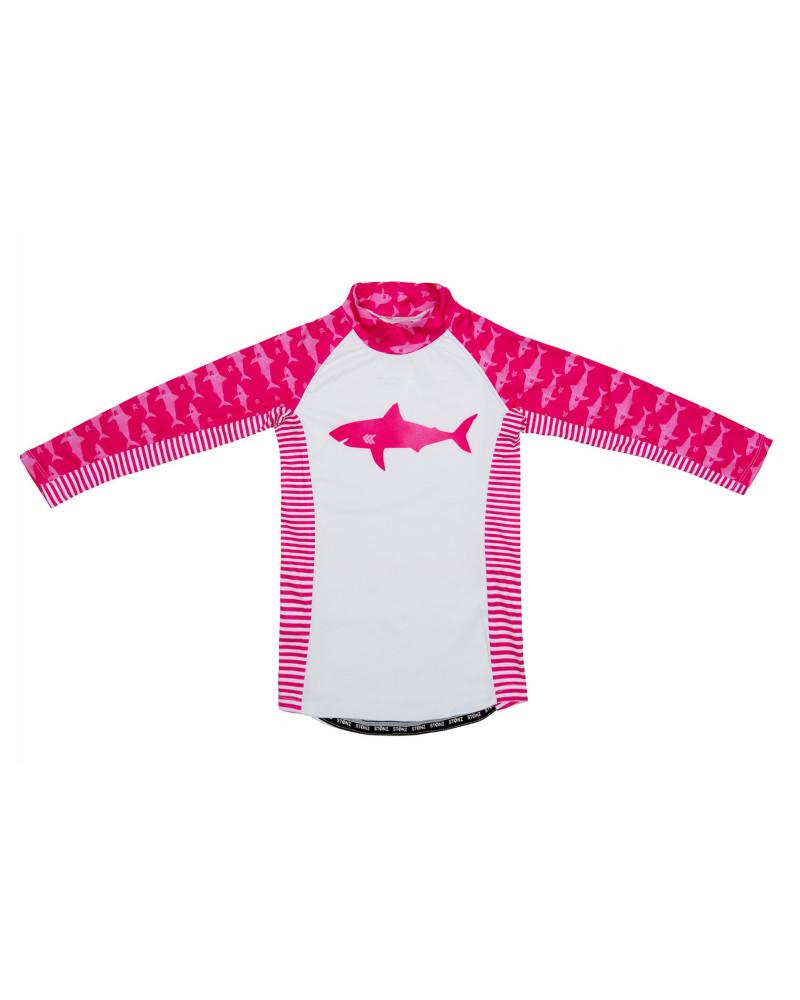 Koszulka plażowo-kąpielowa z filtrem UPF 50 - Fuchsia Shark Top Dziecięcy UPF 50 Stonz®