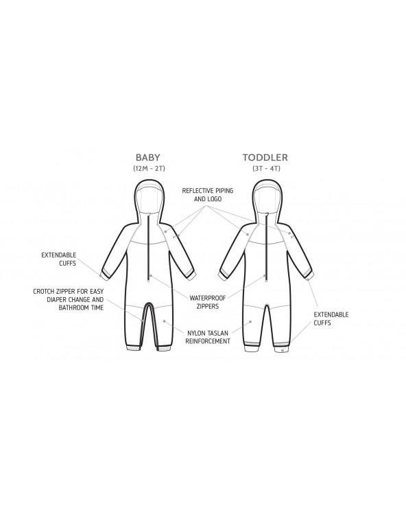 DZIECIĘCY KOMBINEZON PRZEJŚCIOWY – Reflective Polka Dot Kombinezon przeciwdeszczowy Stonz®